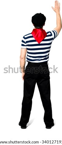 Caucasian man with short black hair in costume showing stop hand - Isolated - stock photo