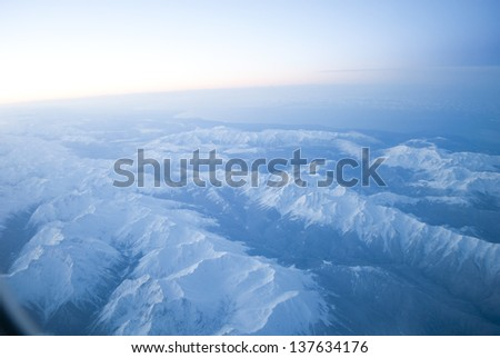 Caucasian mountain ranges from the plane