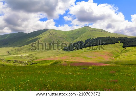Caucasian mountains on a sunny summer day - stock photo