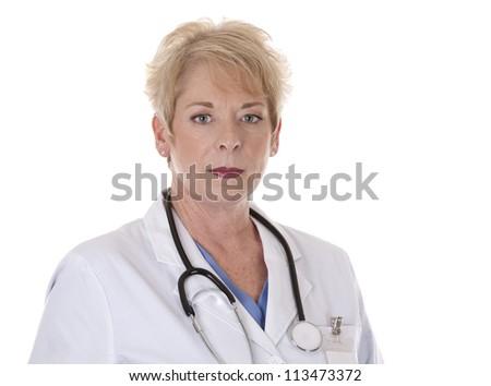 caucasian senior doctor on white isolated background - stock photo