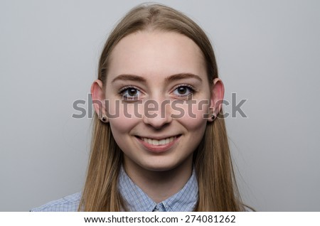 caucasian teen girl studio indoor portrait big ears - stock photo