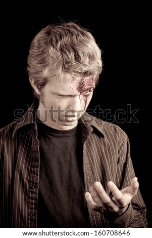Caucasian teenage boy with blonde hair - vintage shot, newly formed Zombie