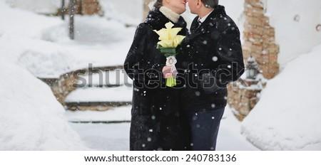 caucasian wedding couple. winter atmosphere. couple in love - stock photo