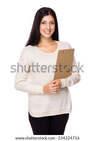 Caucasian Woman hold with clipboard - stock photo