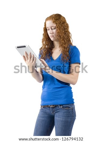 Caucasian Woman holding a tablet