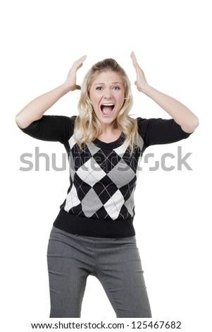 Caucasian woman screaming in great despair - stock photo