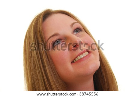 Caucasian woman smiling  and  looking up, isolated on white. - stock photo