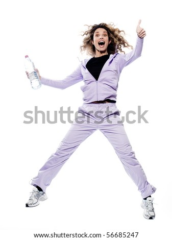caucasian woman thumb up jumping portrait isolated studio on white background