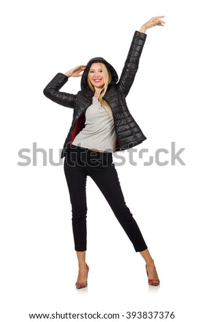 Caucasian woman wearing black jacket isolated on white