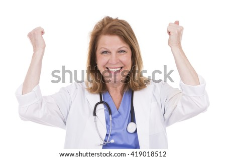 caucasian woman wearing doctor's scrubs on white background - stock photo