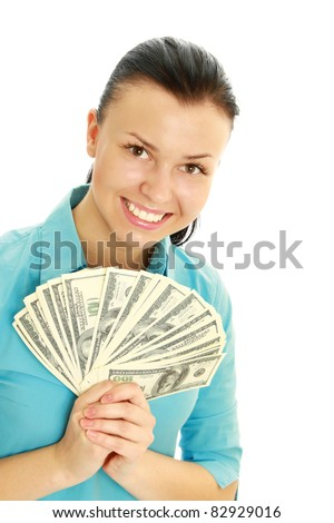 Caucasian woman with dollar notes in both hands. Isolated on white background.