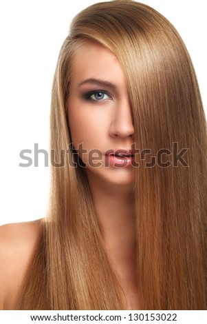 Caucasian woman with long beautiful blond hair isolated over white background - stock photo