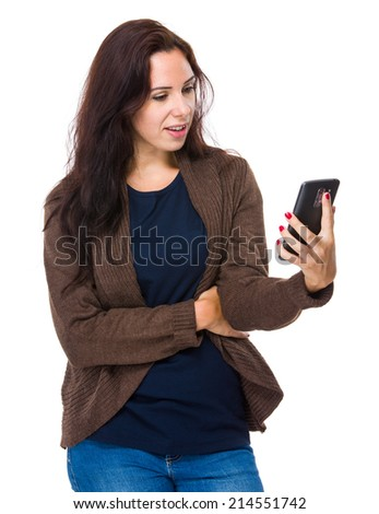 Caucasian woman with mobile phone - stock photo
