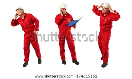 caucasian worker in red overalls and hardhat at work - stock photo