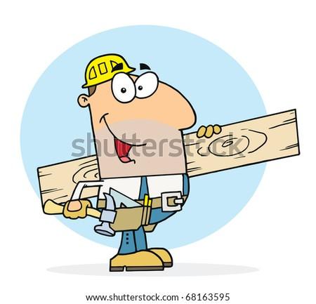 Caucasian Worker Man A Wood Plank - stock photo