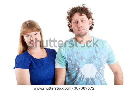 Caucasian young couple together, isolated on white background - stock photo