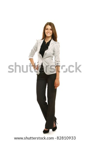 Caucasian young female mode in suit. - stock photo