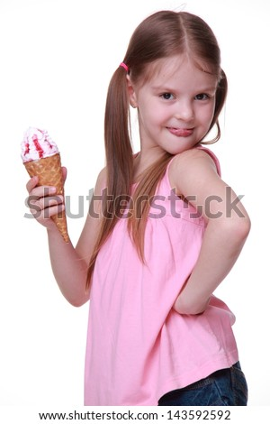 Caucasian young model with funny two tails and holding sweet ice-cream ...