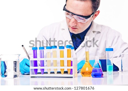 caucasian young scientist at work