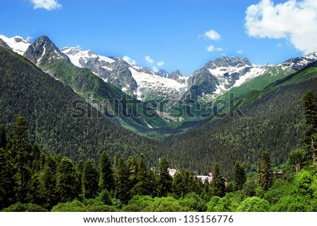 Caucasus Mountains. Region Dombay. - stock photo