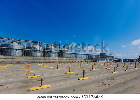 Caucasus Port car Parking. Parking before loading onto the ferry in the port of Kavkaz. Train ferry between port Crimea, Kerch, and port Caucasus - stock photo