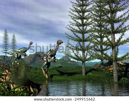 Caudipteryx looking at dilon dinosaurs coming next to tempskya trees by night - 3D render - stock photo