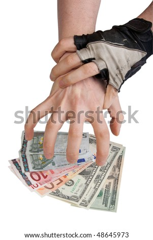 Caught corruptionist with clipping path - stock photo