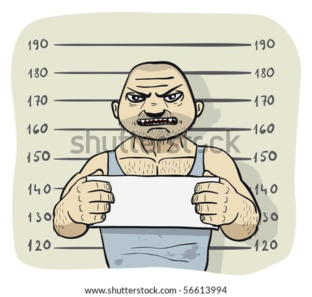 Caught criminal stands beside wall with sign in his hands. His pictures are taken by the police. - stock photo