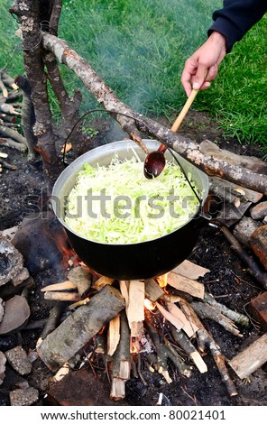 Cauldron cabbage cooking on fire, outdoor camping