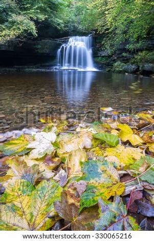 Cauldron Falls waterfall, West Burton in the Yorkshire Dales (UK) - stock photo