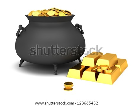 Cauldron of golden coins on a white background. - stock photo