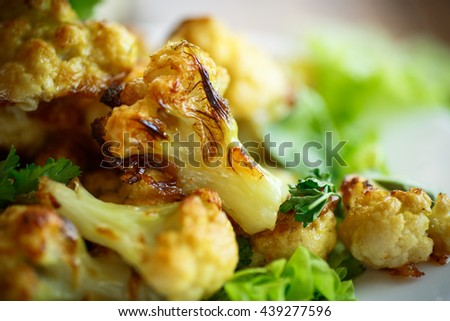 cauliflower baked in batter on the plate