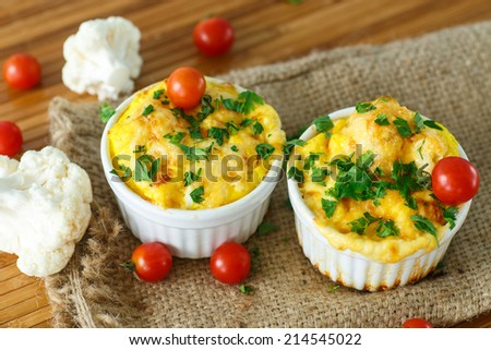 cauliflower baked omelet with cheese in baking dish - stock photo
