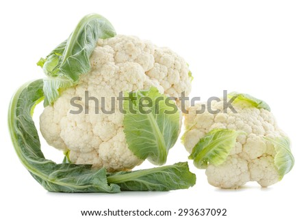 Cauliflower.  Fresh ripe whole cauliflower cabbage closeup isolated on white background. Studio shoot. - stock photo