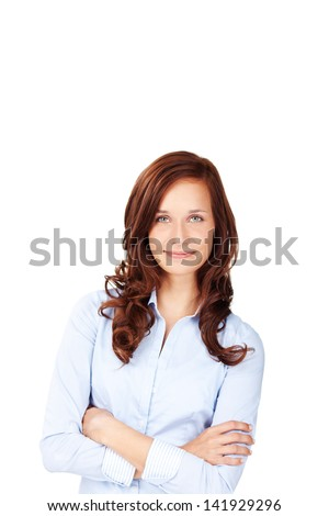 Causal female in curly hair posing with arms crossed - stock photo