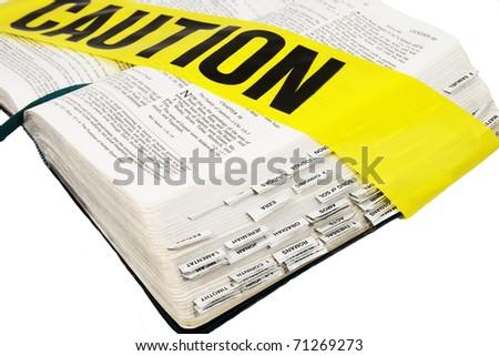 Caution - Bible - stock photo