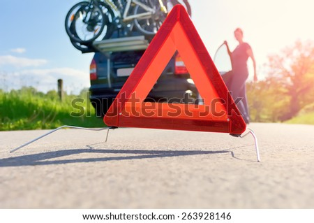 Caution - Car Trouble on a Holiday Trip - stock photo
