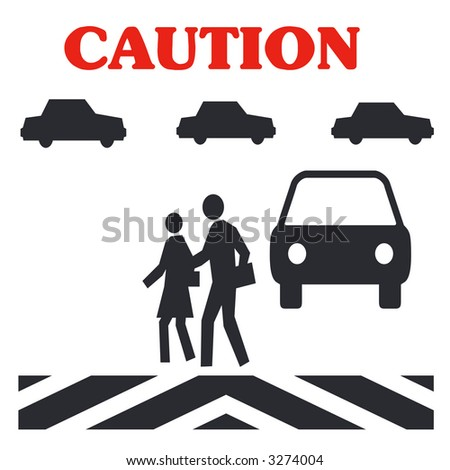 caution crossing in traffic  pedestrian safety poster