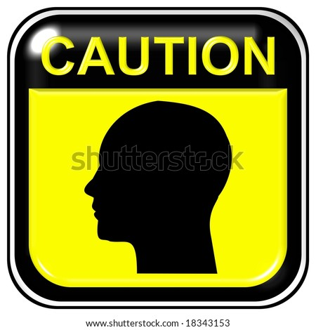 Caution - head - stock photo