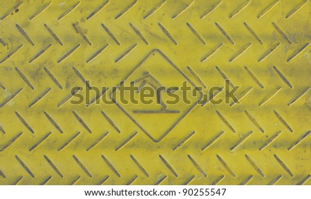 Caution on ground for Slippery Sign - stock photo