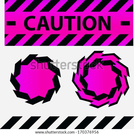 Caution or danger and police tape attention with labels stickers and design elements set - stock photo