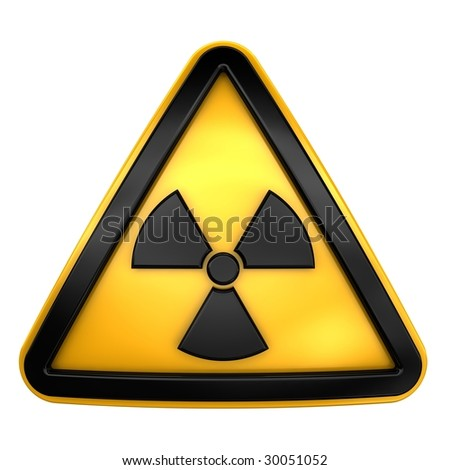 Caution radiation sign - stock photo