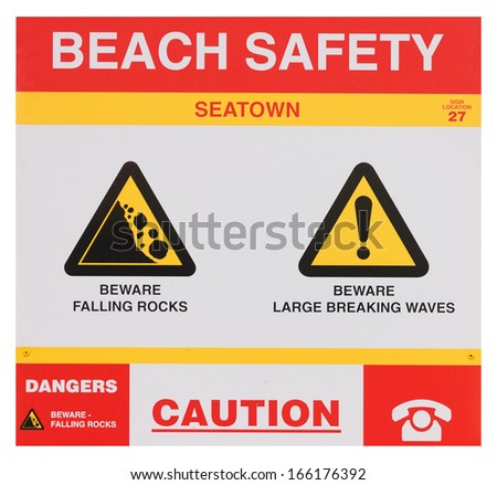 "Caution sign ""Beach Safety"""