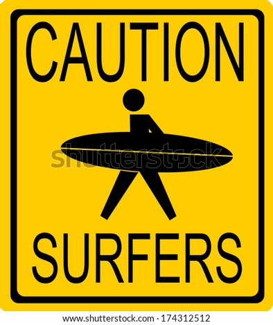 caution surfer sign with person holding surfboard - stock photo