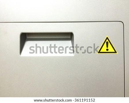 Caution symbol on lab equipment.Important information. - stock photo