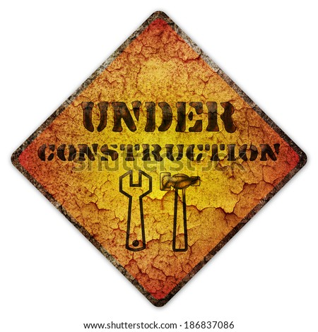 Caution Warning Under Construction sign - stock photo