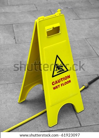Caution wet floor and slippery surface sign