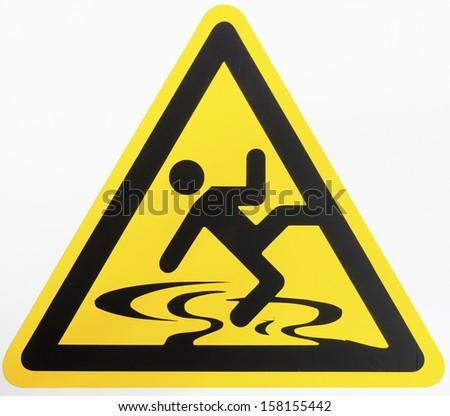 caution wet floor sign on white - stock photo