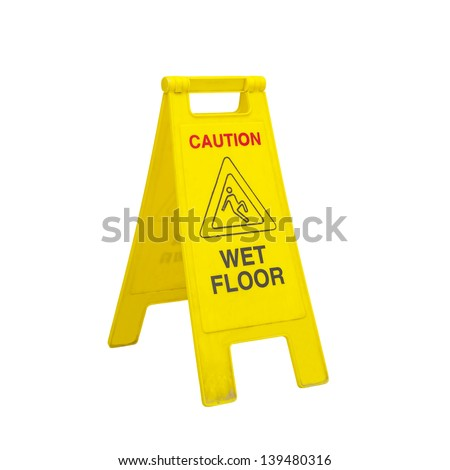 caution wet floor signs in the office room  - stock photo