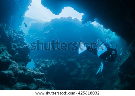 cave diving - stock photo